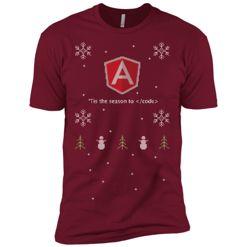 AngularJS 'Tis The Season To Code Ugly Sweater Premium Christmas Holiday T-Shirt - Bitcoin & Bunk