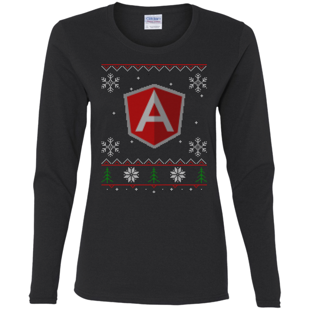 AngularJS Programming Ugly Sweater Women's Long Sleeve Christmas Holiday Shirt
