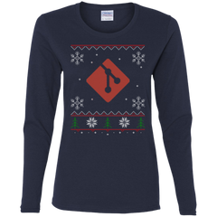 Git Programming Ugly Sweater Women's Long Sleeve Christmas Holiday Shirt - Bitcoin & Bunk