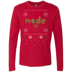 Node Programming Ugly Sweater Premium Long Sleeve Christmas Holiday Shirt - Bitcoin & Bunk
