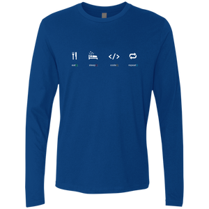 Eat Sleep Code Repeat Premium Long Sleeve Shirt - Bitcoin & Bunk