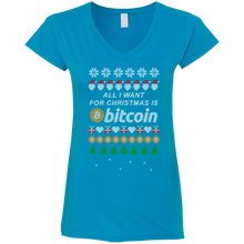 "画像をギャラリービューアに読み込む, ""All I want for Christmas is Bitcoin"" Women's Fitted V-Neck T-Shirt - Bitcoin & Bunk"