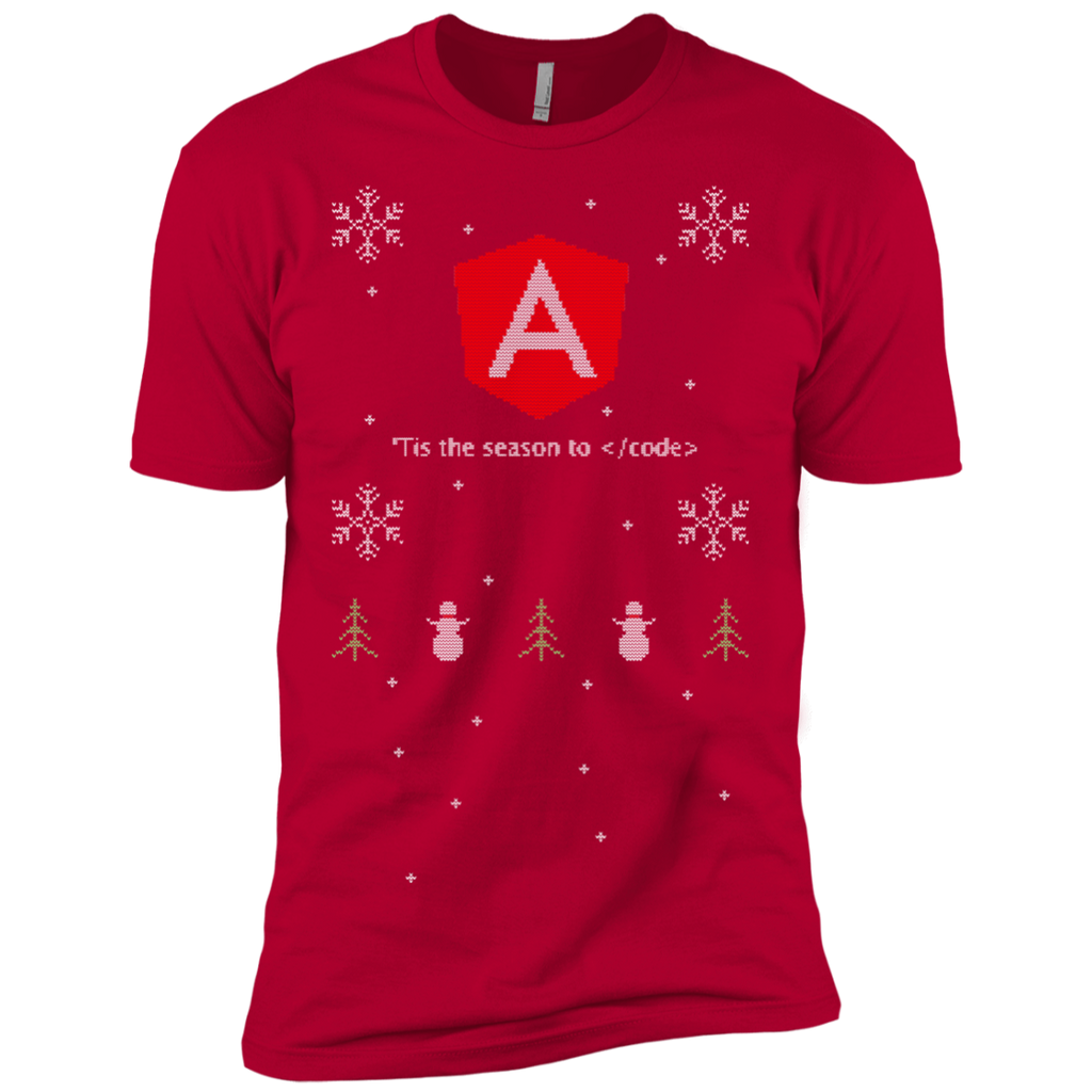 Angular 'Tis The Season To Code Ugly Sweater Premium Christmas Holiday T-Shirt - Bitcoin & Bunk