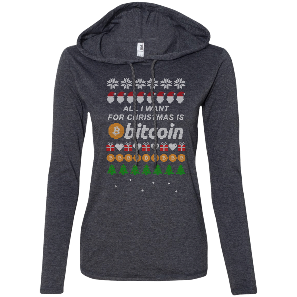 """All I want for Christmas is Bitcoin"" Women's Long Sleeve Hooded Shirt"