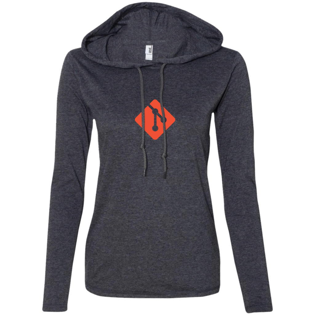 Git Programming Authentic Women's Long Sleeve Hooded Shirt - Bitcoin & Bunk