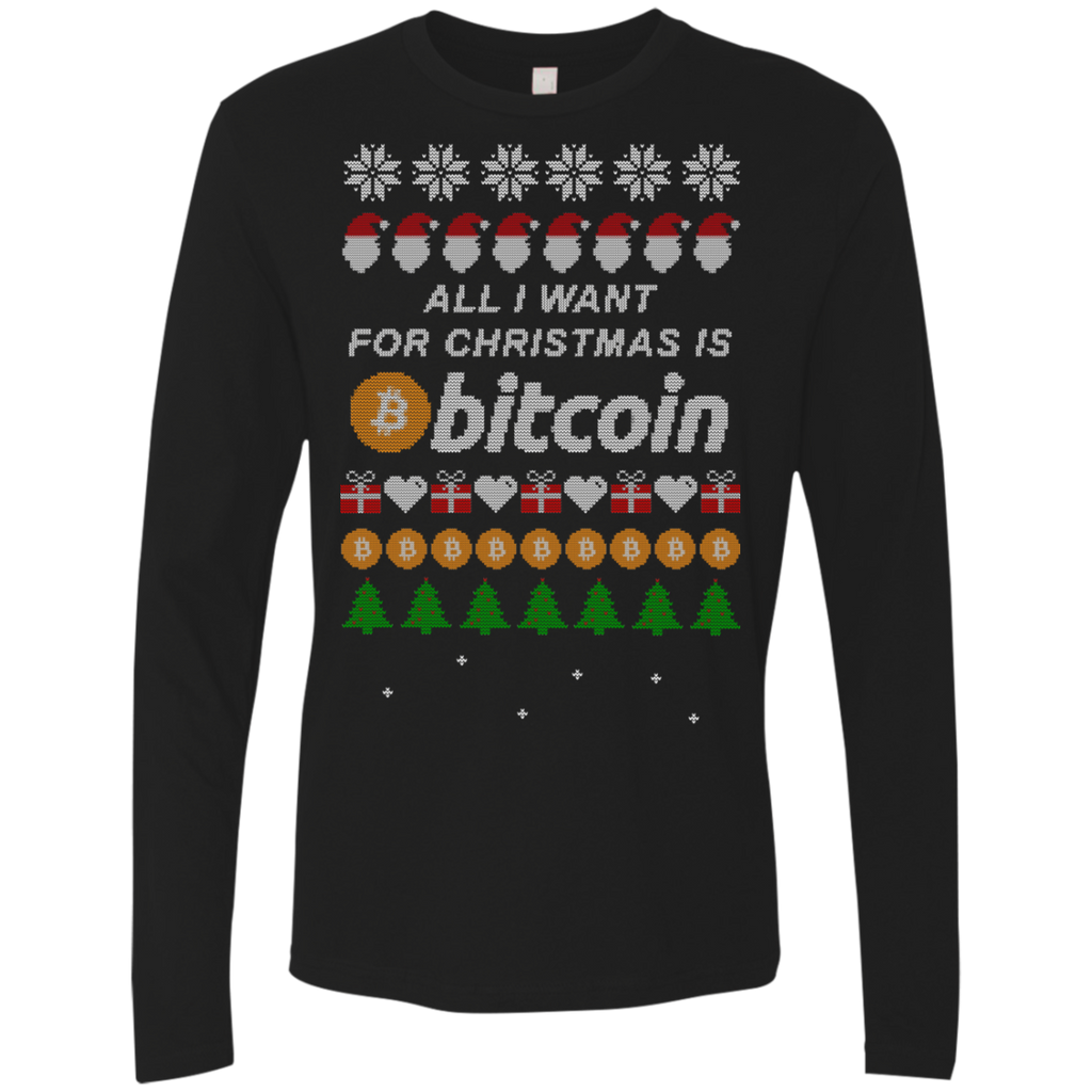 """All I want for Christmas is Bitcoin"" Men's Premium Long Sleeve Shirt - Bitcoin & Bunk"