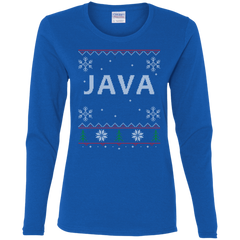 Java Programming Ugly Sweater Women's Long Sleeve Christmas Holiday Shirt