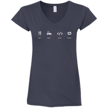 Load image into Gallery viewer, Eat Sleep Code Repeat Women's Fitted Comfort-Soft V-Neck T-Shirt - Bitcoin & Bunk