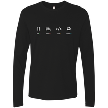 Load image into Gallery viewer, Eat Sleep Code Repeat Premium Long Sleeve Shirt - Bitcoin & Bunk