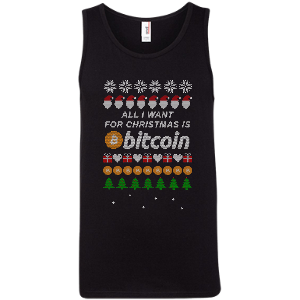 """All I want for Christmas is Bitcoin"" Men's Pure Cotton Tank-Top - Bitcoin & Bunk"