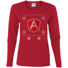 AngularJS Programming Ugly Sweater Women's Long Sleeve Christmas Holiday Shirt - Bitcoin & Bunk