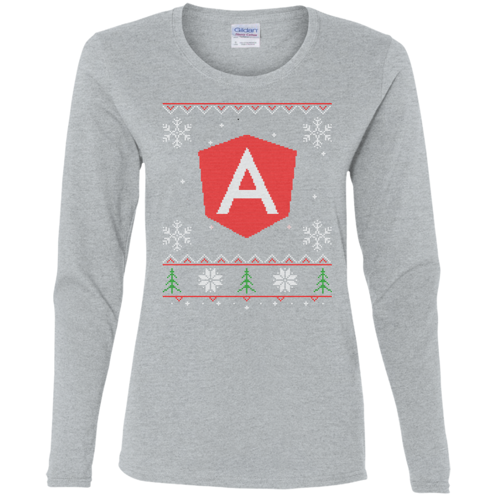 Angular Programming Ugly Sweater Women's Long Sleeve Christmas Holiday Shirt - Bitcoin & Bunk