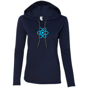 React Programming Authentic Women's Long Sleeve Hooded Shirt - Bitcoin & Bunk