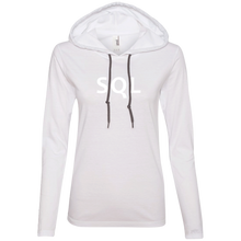 Load image into Gallery viewer, SQL Programming Authentic Women's Long Sleeve Hooded Shirt - Bitcoin & Bunk
