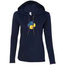 画像をギャラリービューアに読み込む, Python Programming Authentic Women's Long Sleeve Hooded Shirt - Bitcoin & Bunk