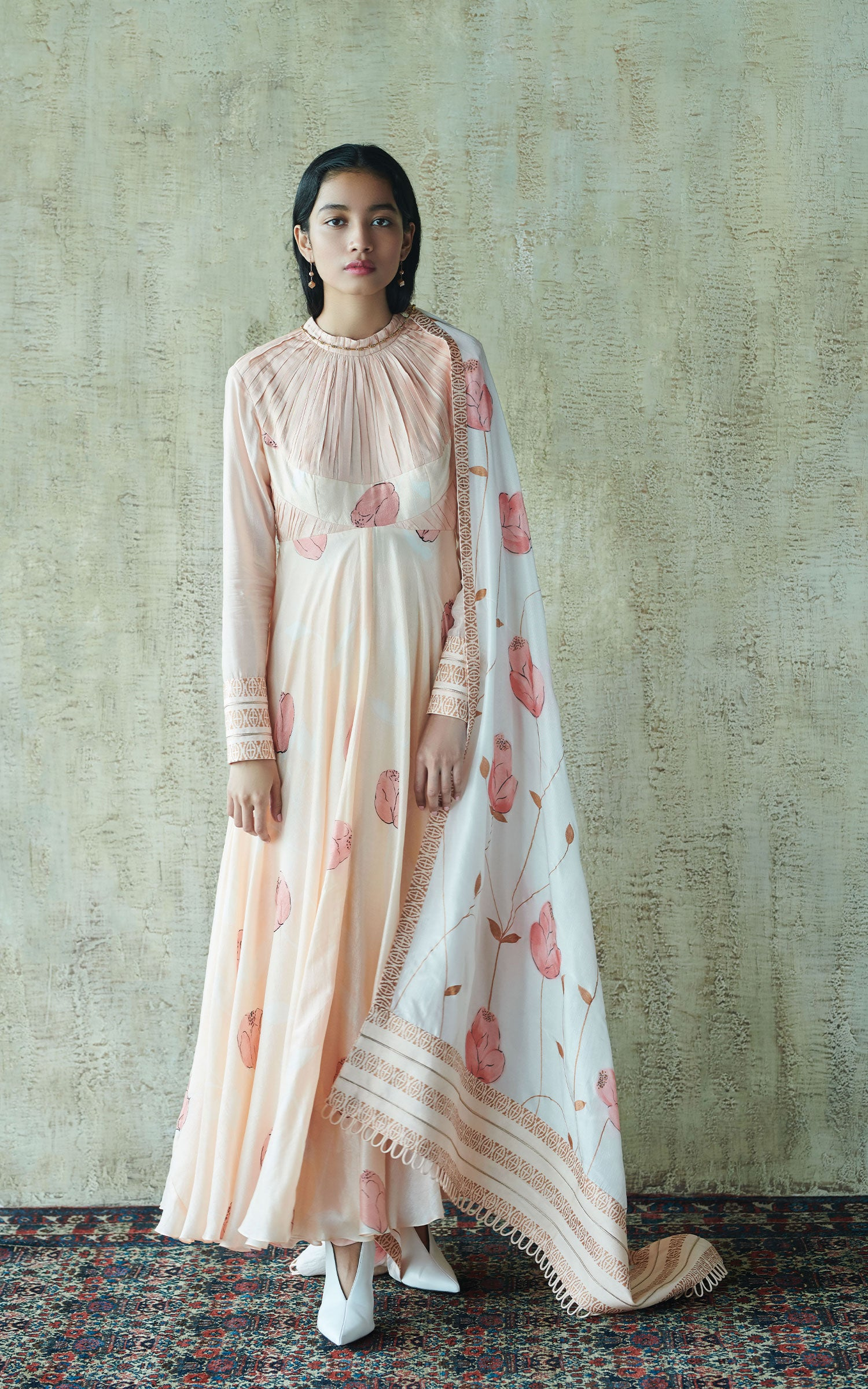 Hand Painted Floral Long Kurta Set