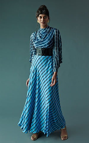 Block Printed Checked Cowl Dress