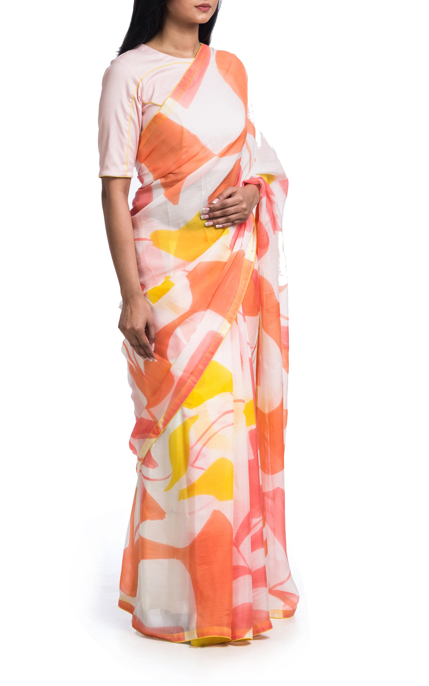 Hand Painted Floral Saree