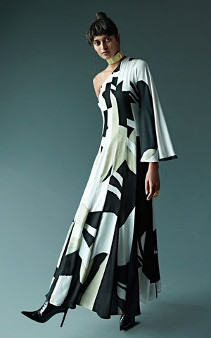 Abstract One Shoulder Hand Painted Paneled Dress