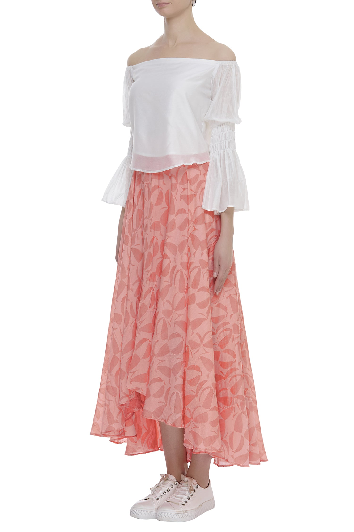 Off Shoulder Top With Asymmetric Skirt