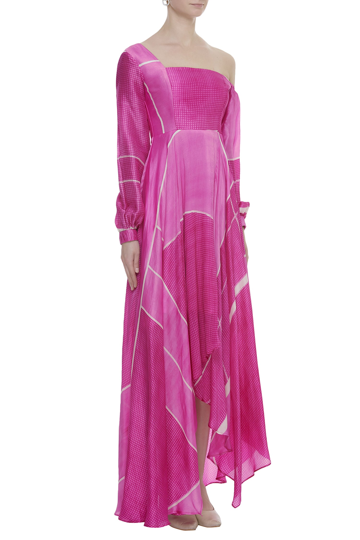 Long Dress With Off Shoulder Sleeve On One Side
