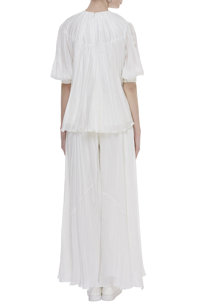 Pleating Textured Long Top With Long Gathered Flared Pants