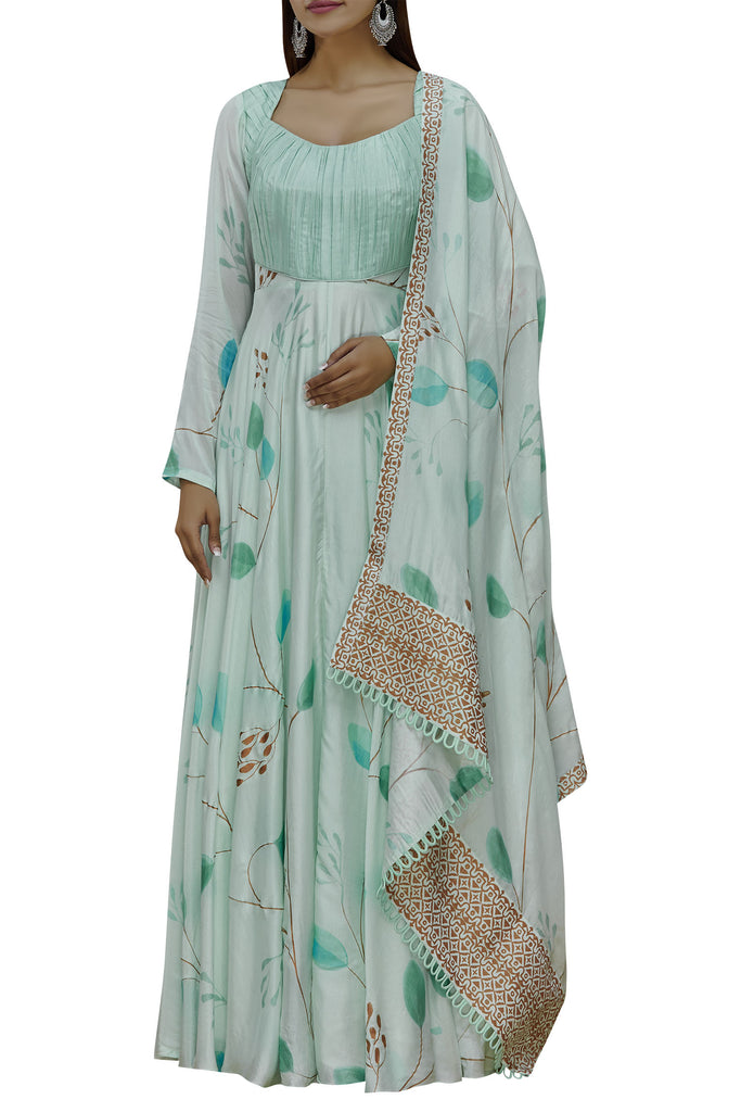 Hand Painted Floral Mint Long Kurta Set