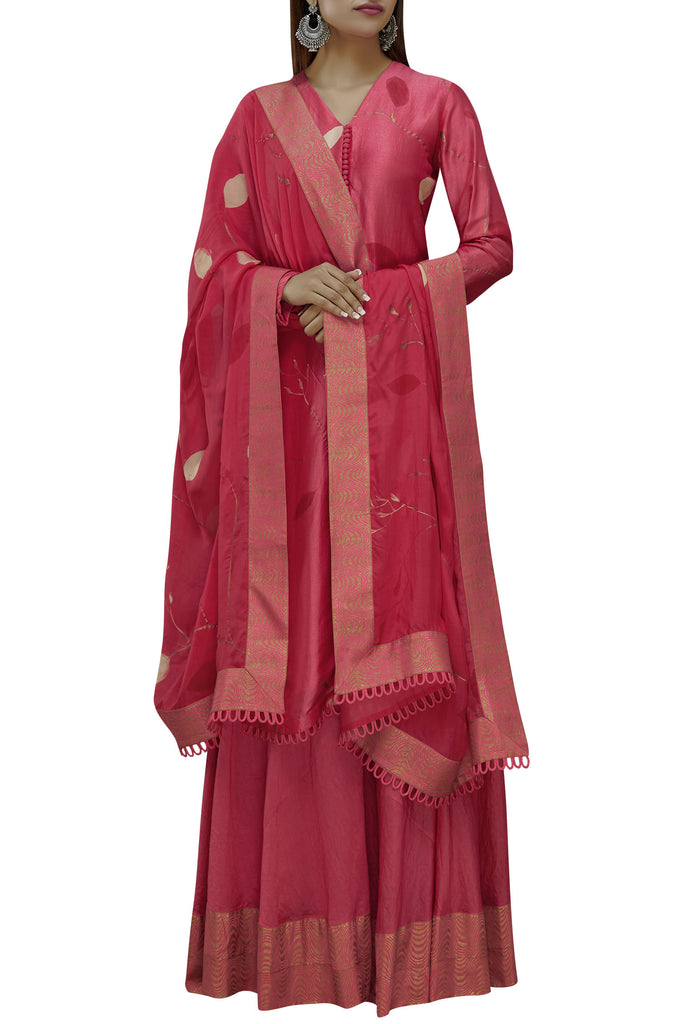 Hand Painted Red Floral Straight Kurta Set