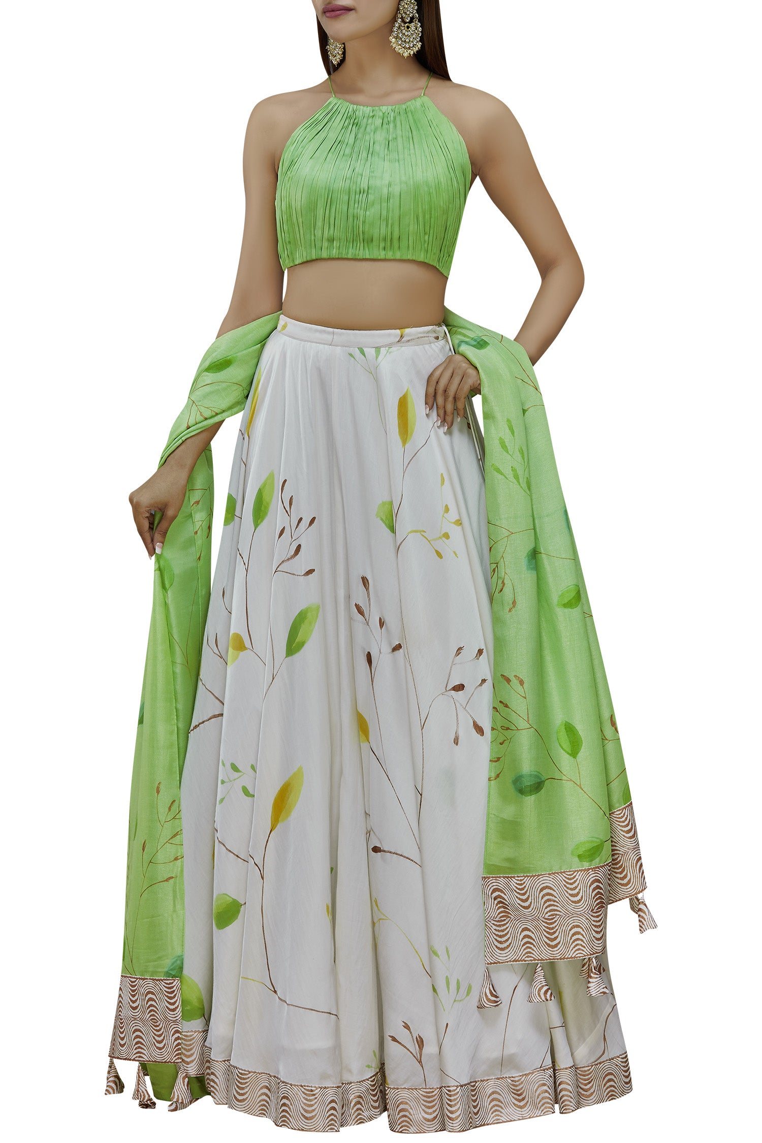 Hand Painted Floral Lehenga Set