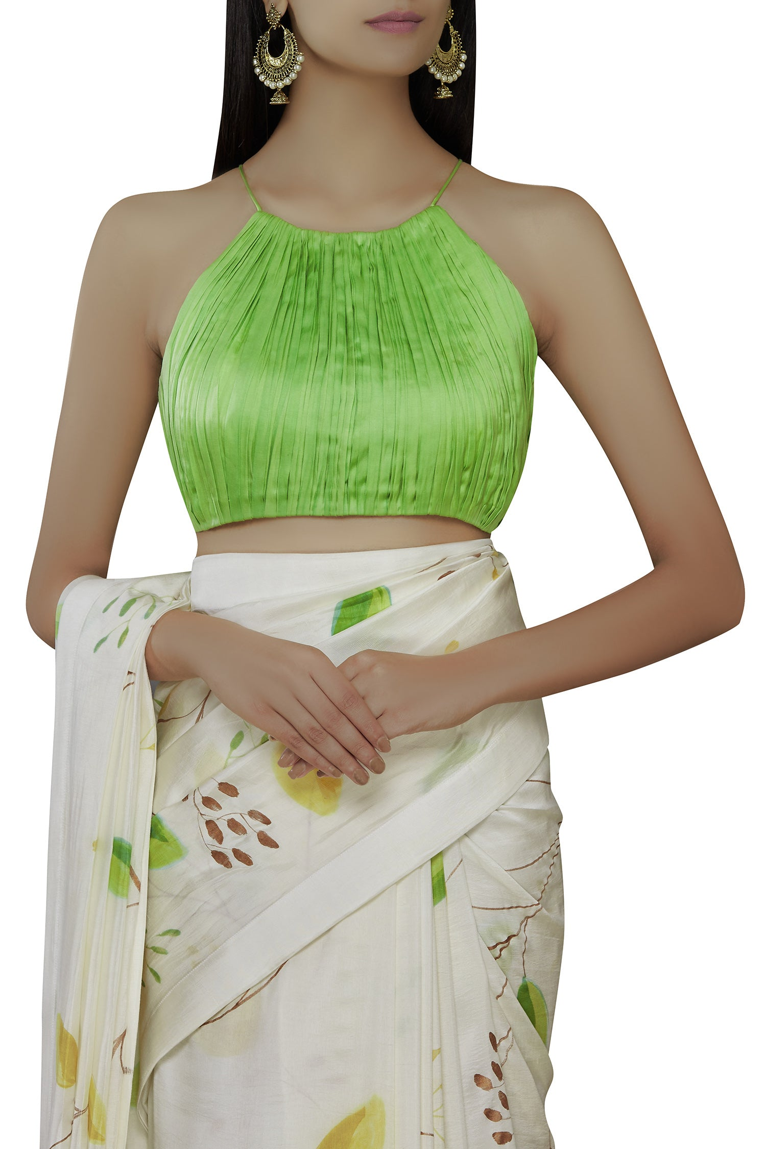 Hand Painted Floral Sari with Bustier