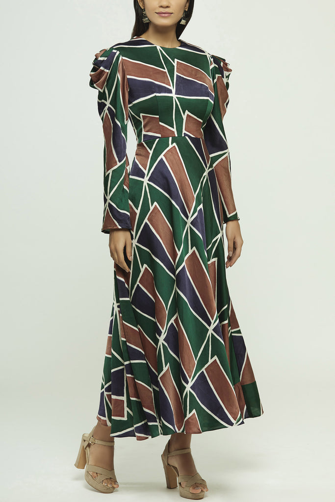 Hand Painted Long Dress With Back Detailing