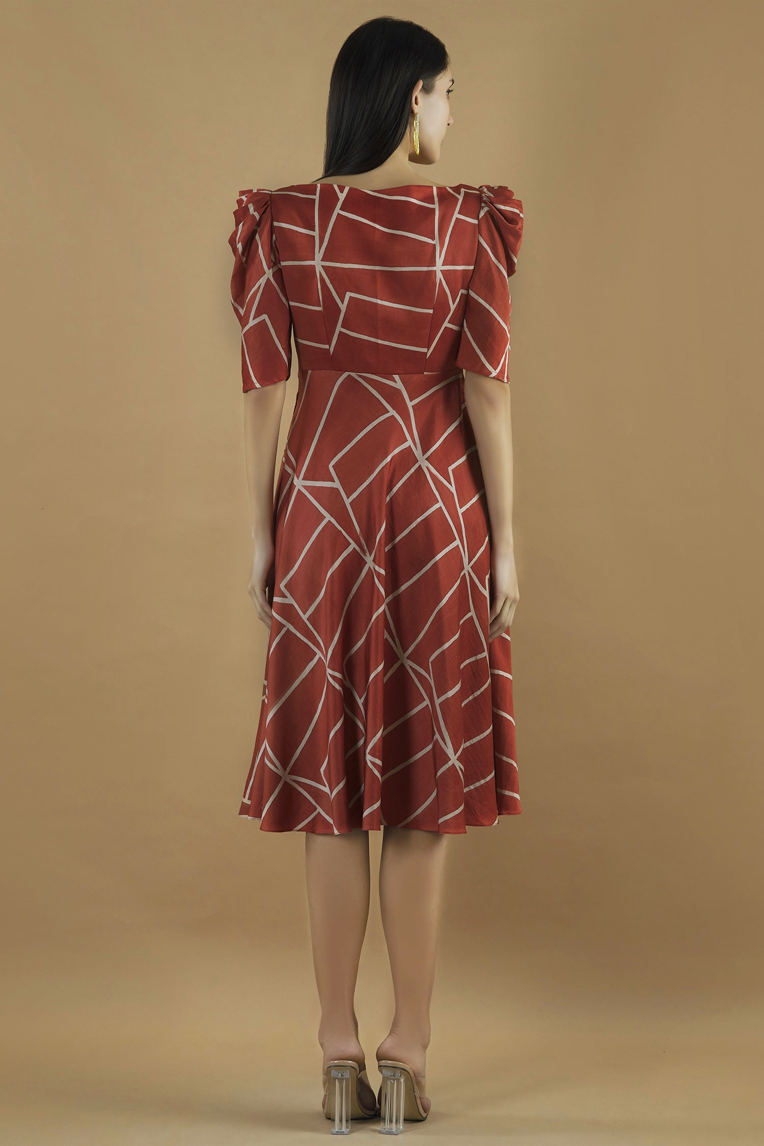 Midi Dress With A Pleated Yoke