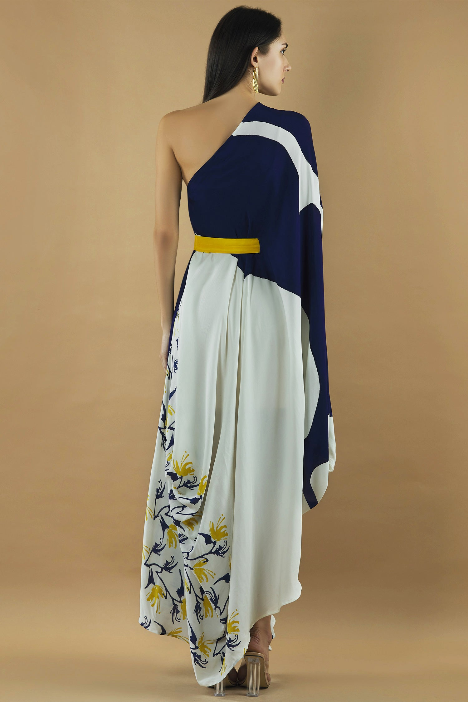Abstract Hand Painted Deep Blue Draped Dress