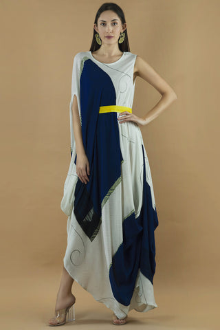 Sleeveless Block Printed Drape Dress