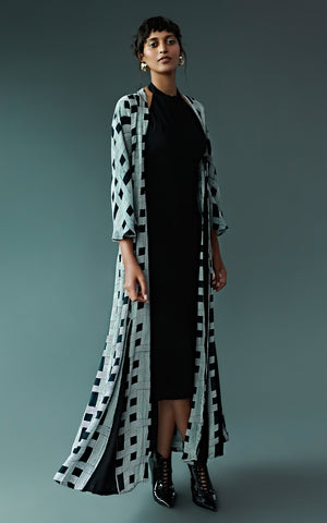 Geometric Block Printed Jacket With Halter Neck Dress