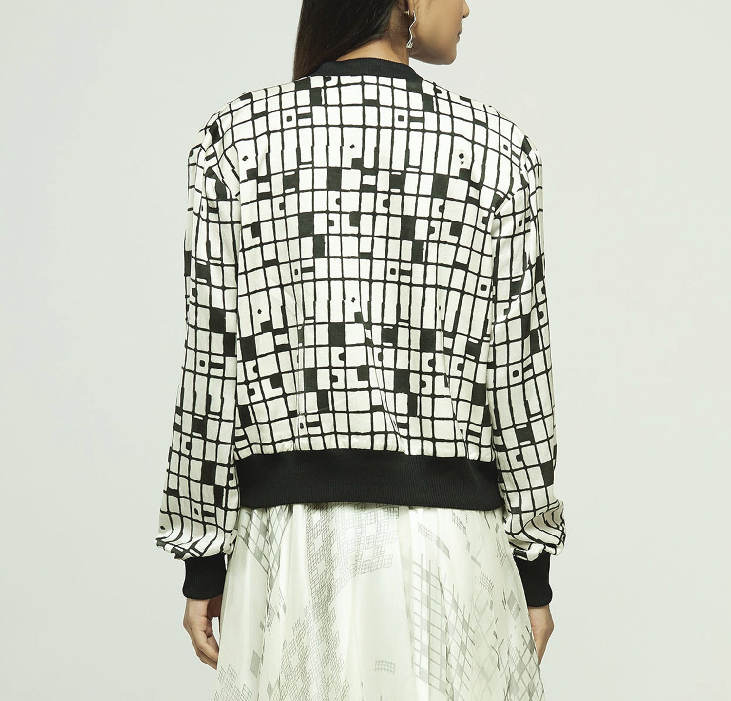 Block Printed Bomber Jacket