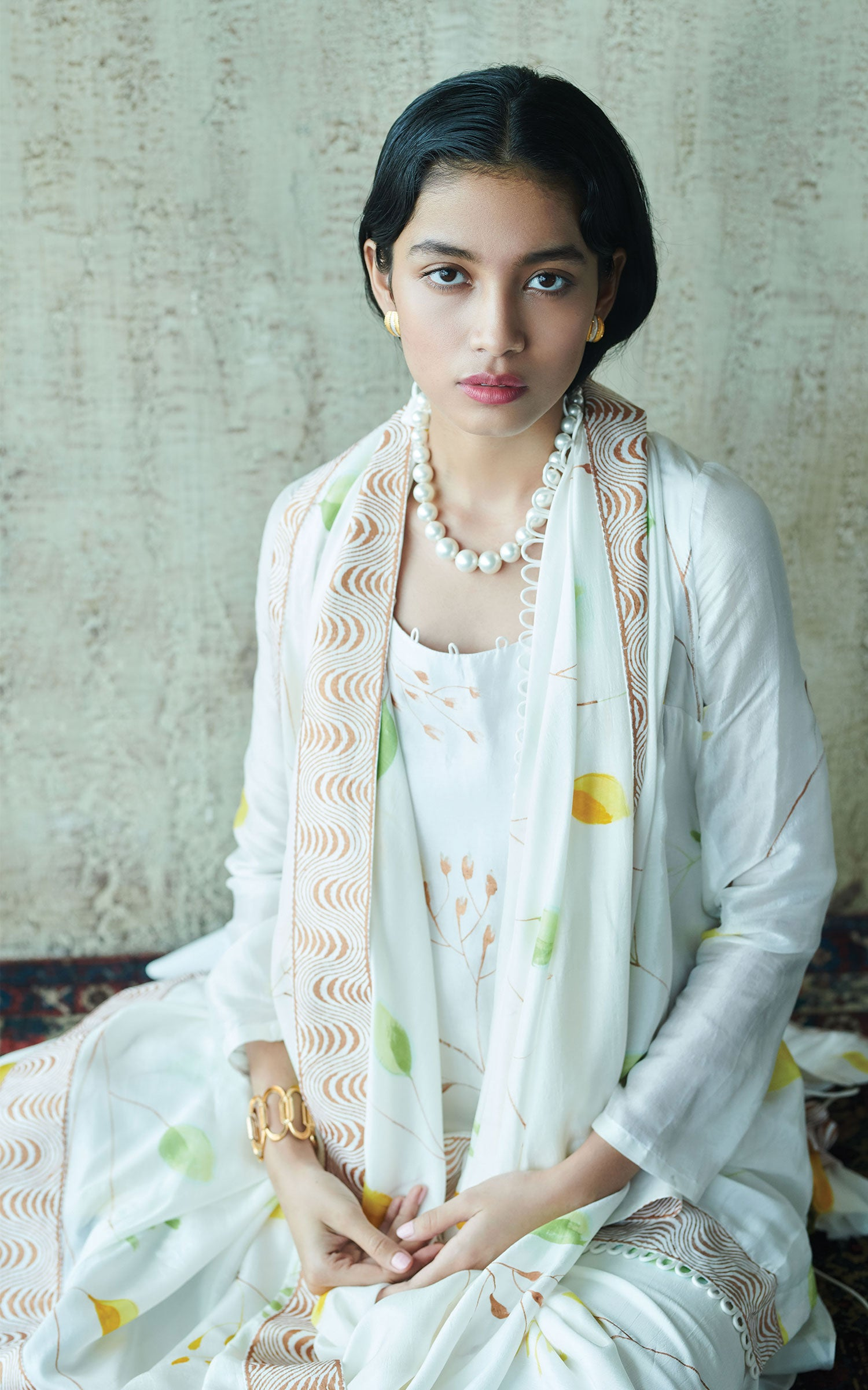 Hand Painted White Floral Kurta Set