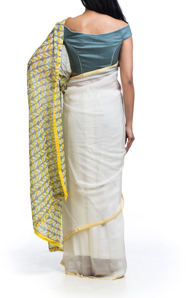 Geometric Block Printed Saree