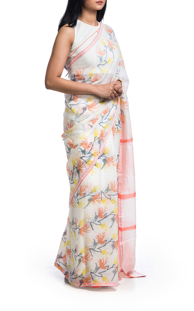 Hand Painted & Block Printed Floral Saree