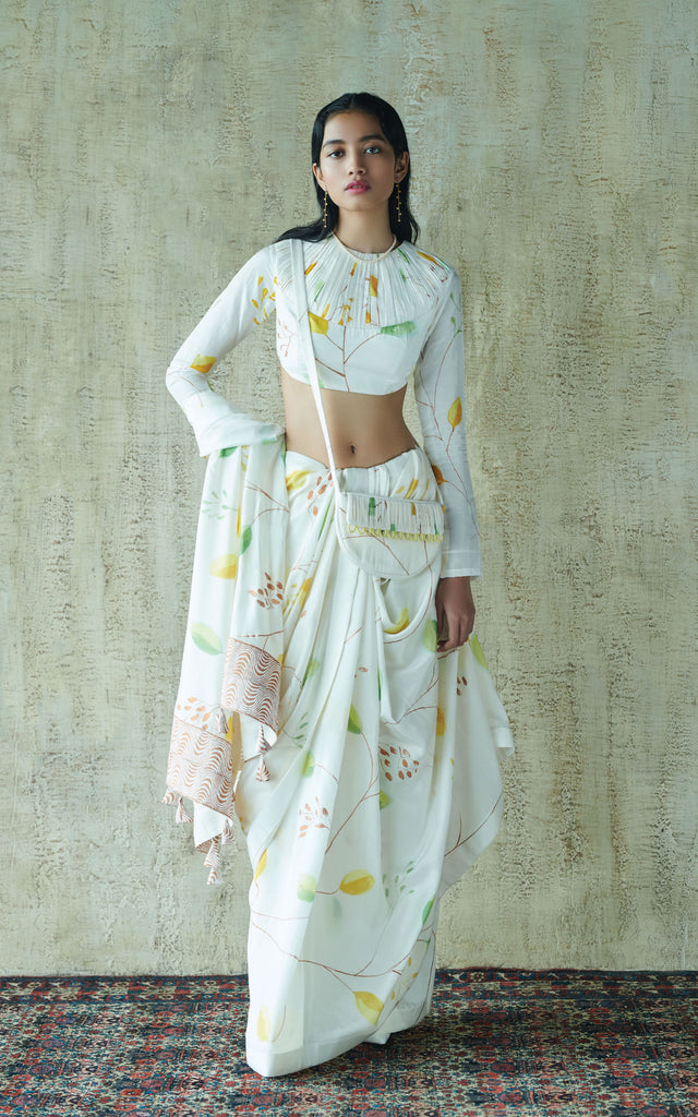 Hand Painted Floral Sari With Full Sleeves Blouse