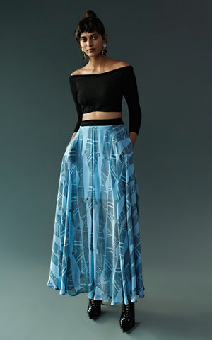 Block Printed Skirt With Pockets & Off-Shoulder Top