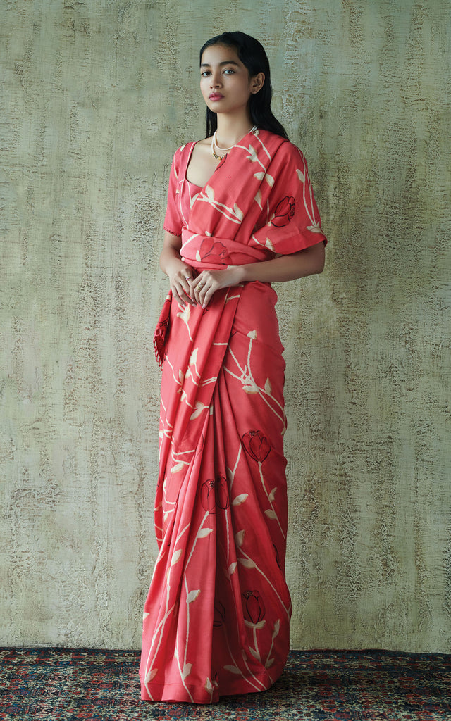 Hand Painted Floral Sari With Printed Blouse