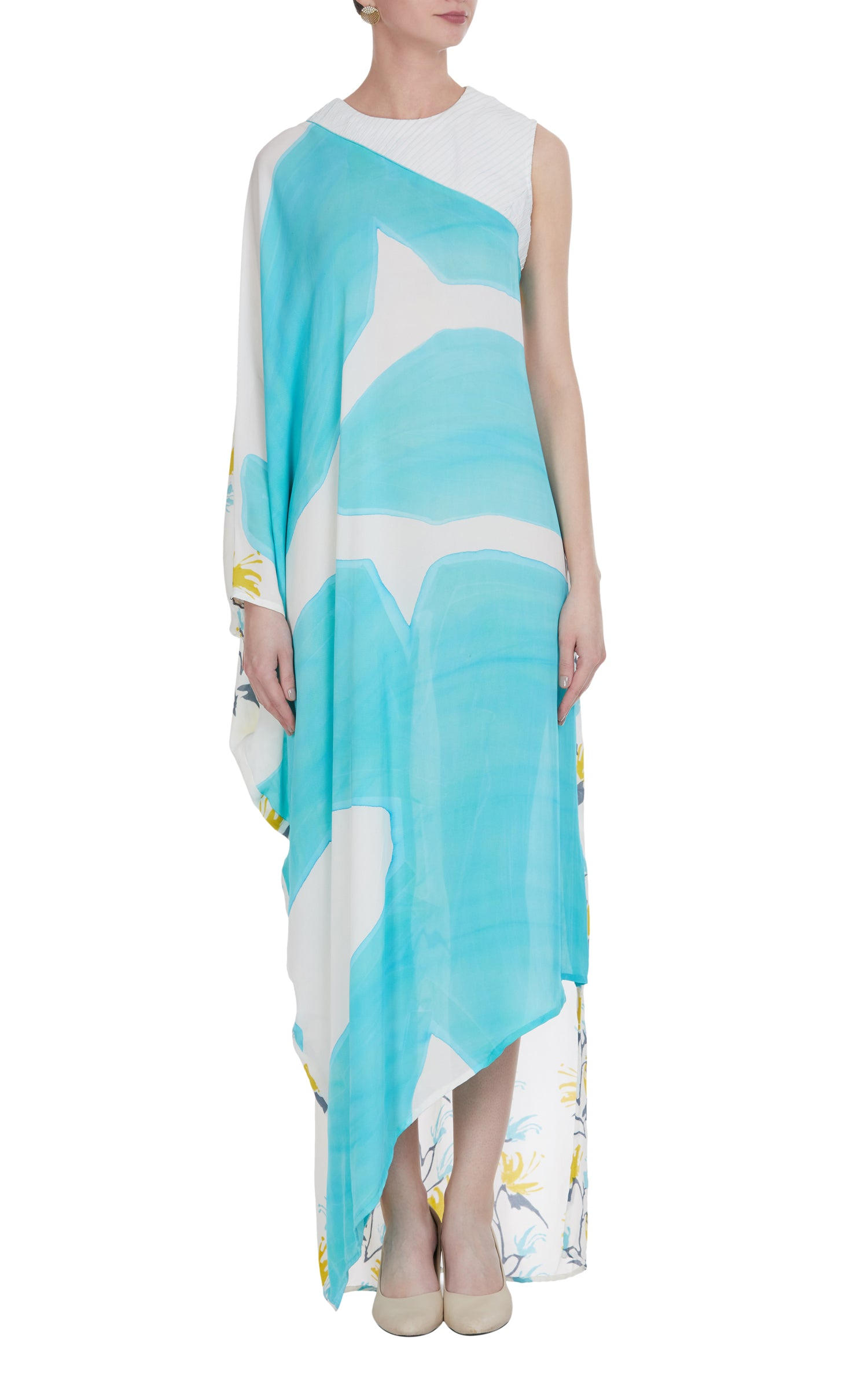 Block Printed & Abstract Painted Asymmetrical Maxi Dress