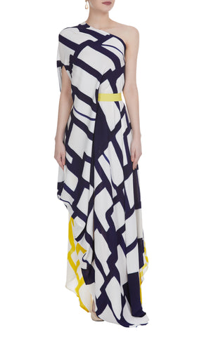 Abstract Hand Painted Maxi Drape Dress