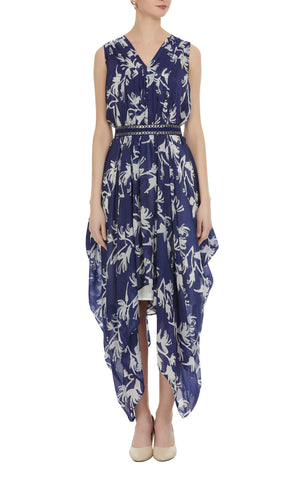 Floral Block Printed Drape Dress with Embroidered Belt
