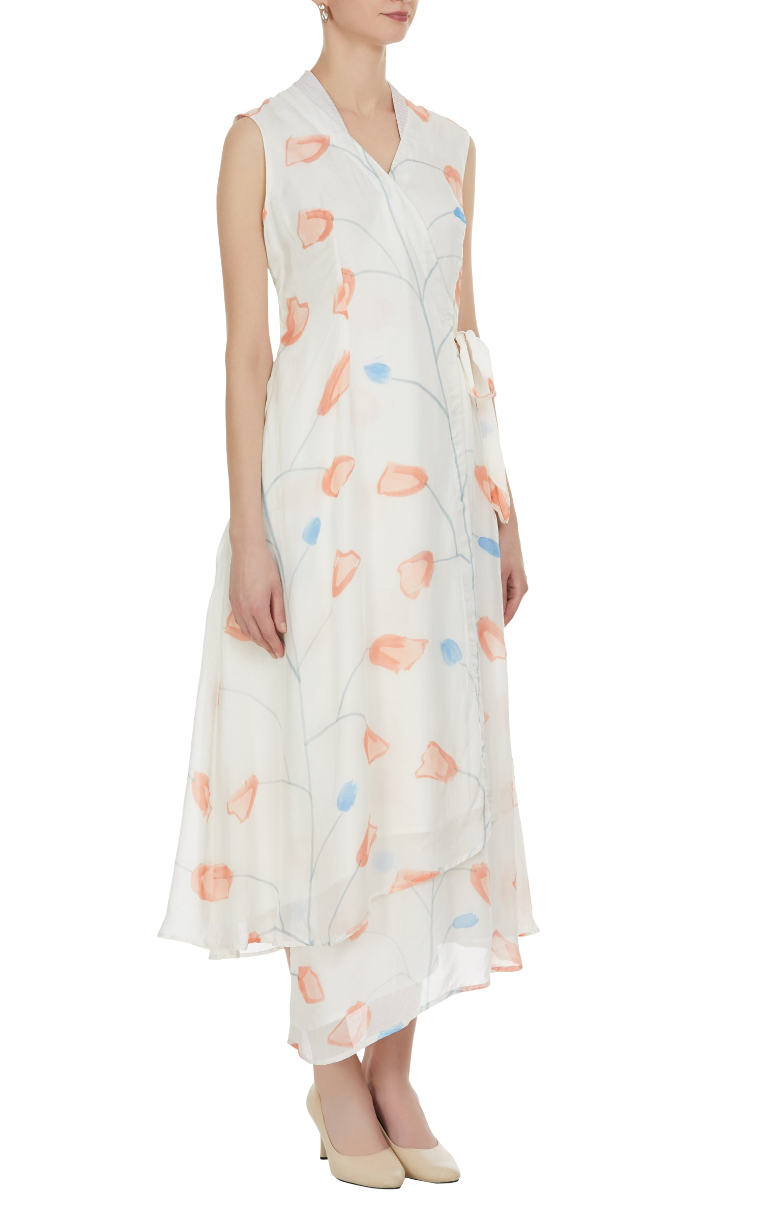Overlap Tulip Hand Painted Long Dress