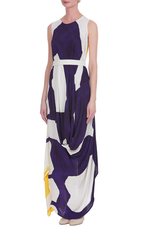 Abstract Hand Painted Drape Dress