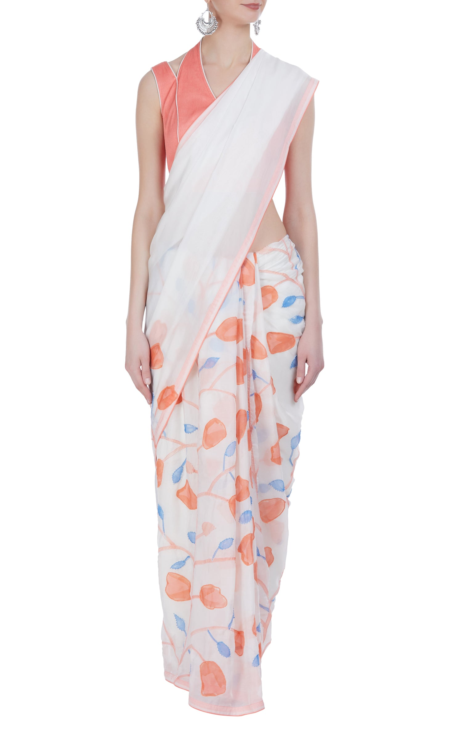 Hand Painted & Embroidered Tulip Saree