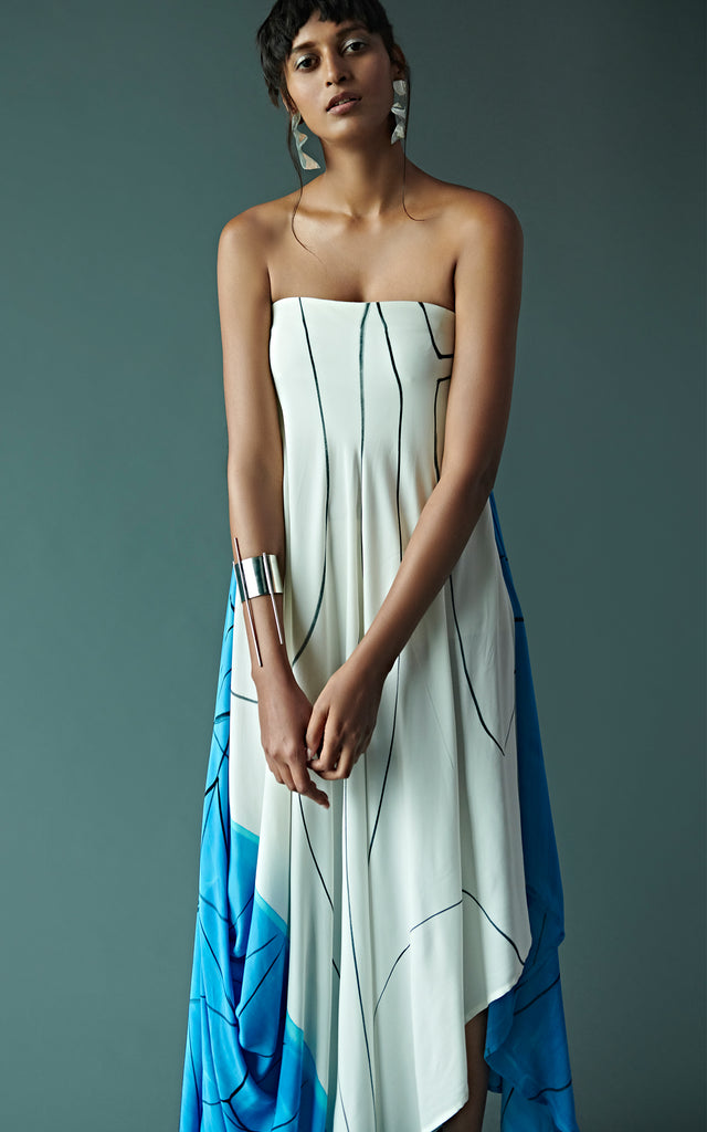 Abstract Hand Painted Tube Drape Dress