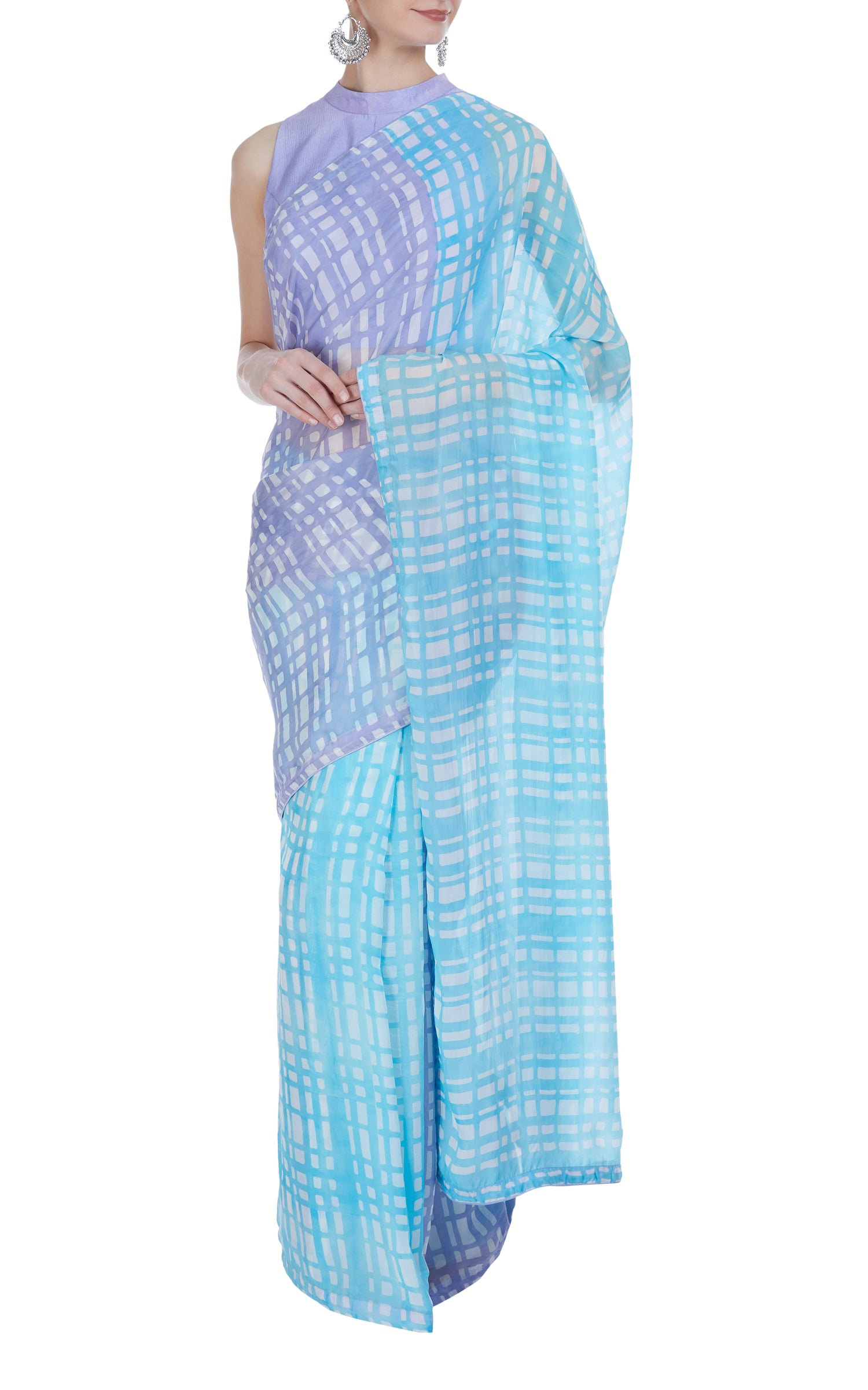 Checkered Block Printed Saree